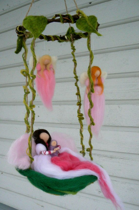Felted Mother and Child with Guardian Angels Mobile