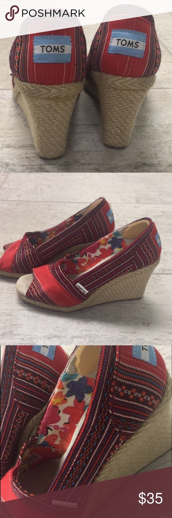 TOMS Womens Canvas Wedges Almost BRAND NEW TOMS wedges! Only worn TWICE! Look new. Size 5 1/2 TOMS brand. TOMS Shoes Wedges