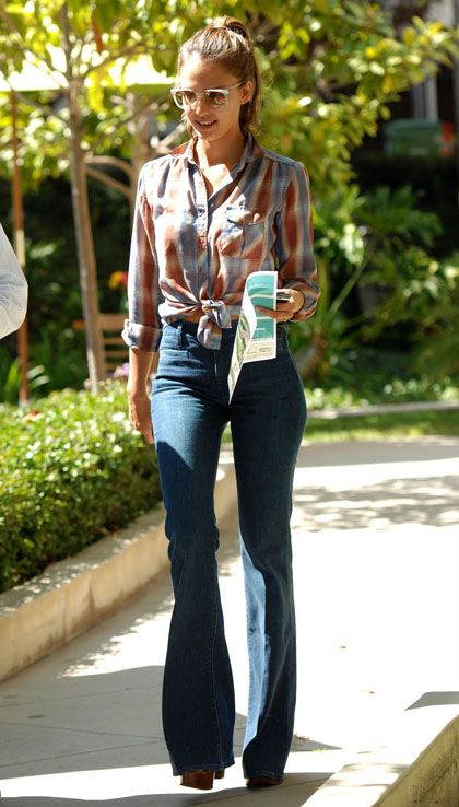 Celebrity street style | Retro high waist flared jeans with wedges and checked shirt