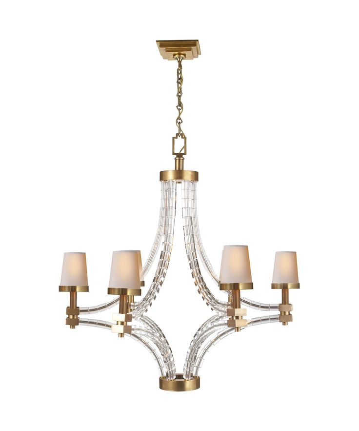 E F Chapman Crystal Cube 34 Inch 6 Light Chandelier By Visual Comfort And Co