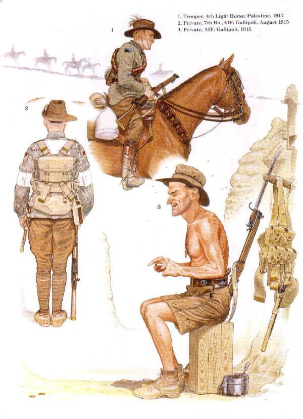 Australian soldiers 1915. Infantry men are at Gallipoli, the Light Horseman in Egypt-Palestine-Syria