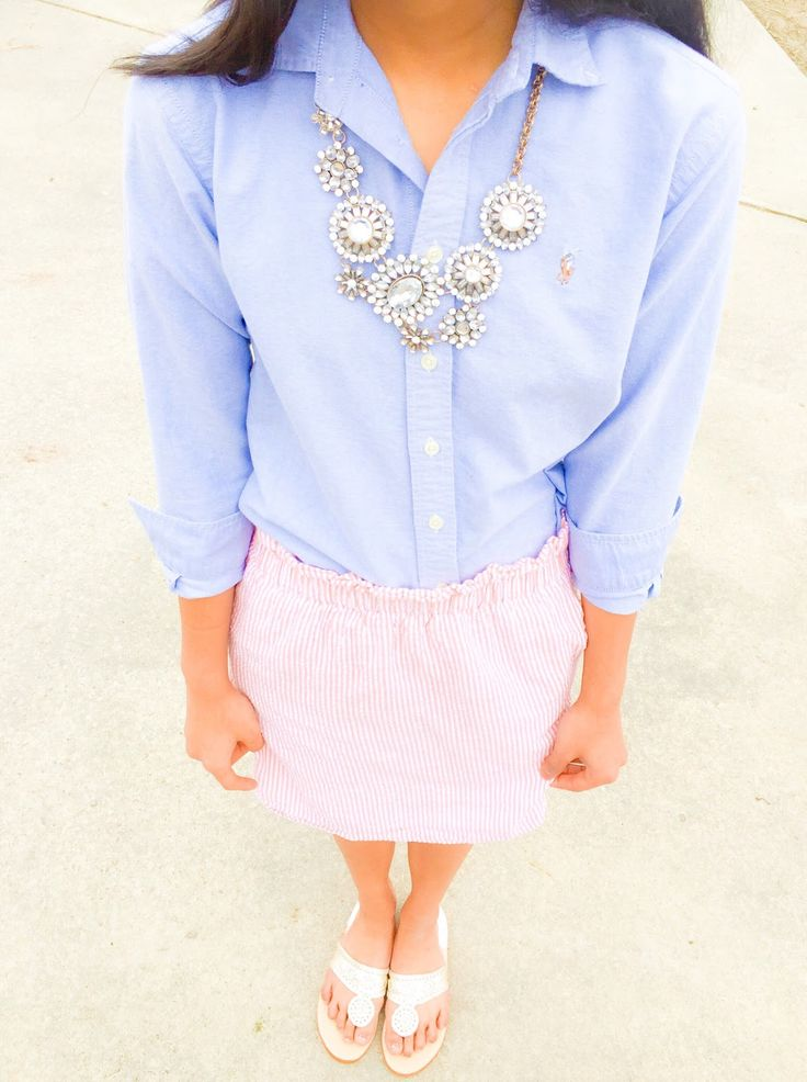 A Seersucker State of Mind: Step into Spring ft. Seersucker skirt and glam statement necklace