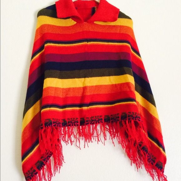 Luxurious alpaca poncho, multicolor lines, new Multicolor Alpaca Poncho with fringe, super soft and hand brushed, from Peru, I'm also selling s matching scarf separately for $10.  Brand new item with No flaws Accessories