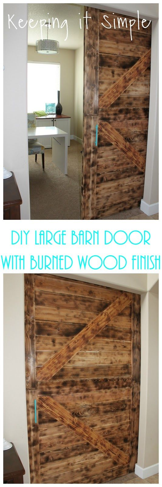 DIY Large Barn Door with Burned Wood Finish- Perfect for ...
