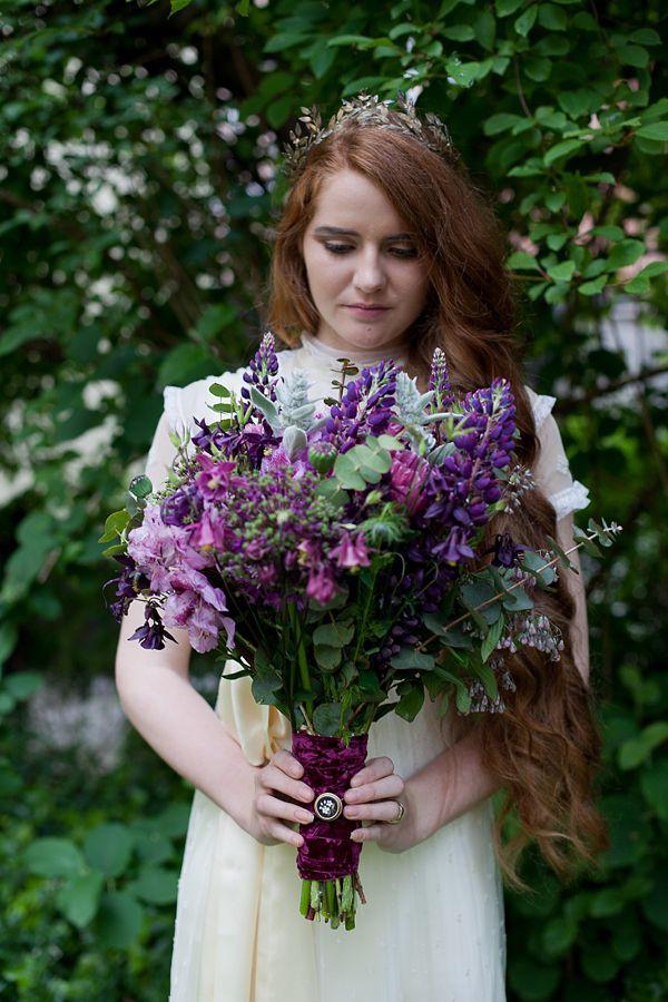 Purple wedding bouquet used in a vintage wedding setting (Edwardian era).  Photography by  Amanda Thomsen + Camilla Jørvad + Tine Hvolby