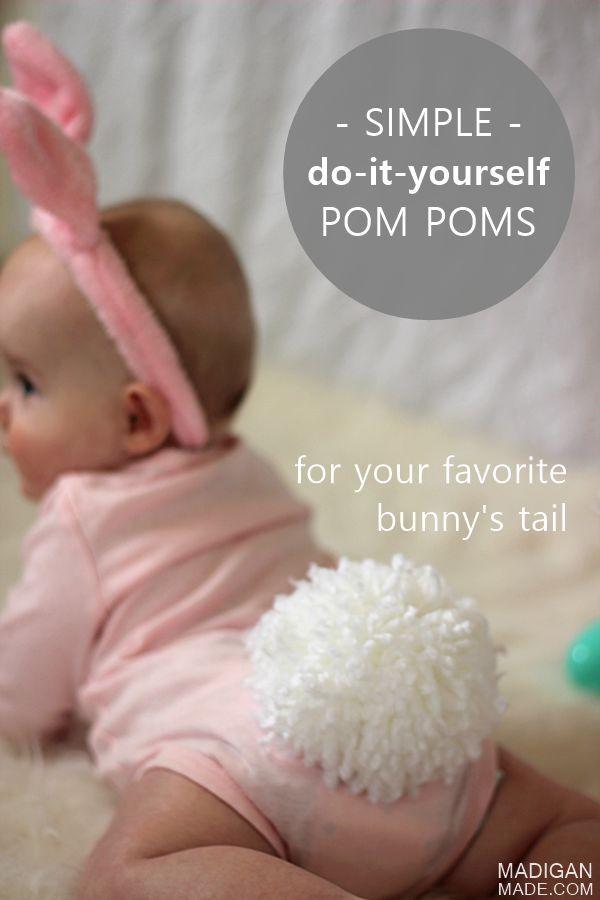 Easy DIY yarn pom pom bunny tail.   Sooooo cute!