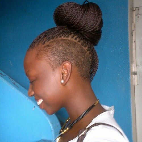 Small Senegalese Twist With Shaved Side Braids Locs