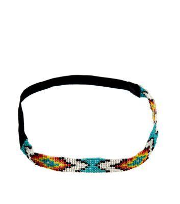 Blue Carnival Bead Elastic Hair Band