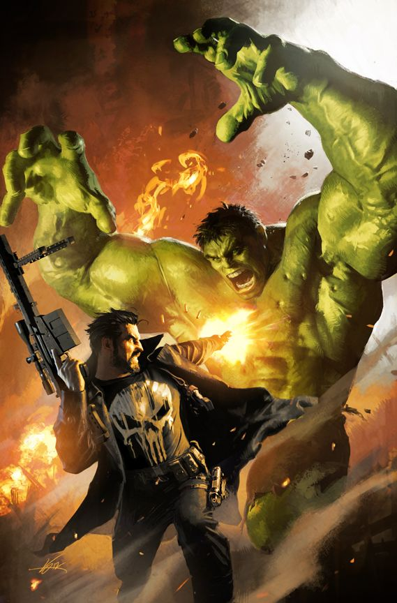 The Punisher and The Hulk by Michael Komarck.