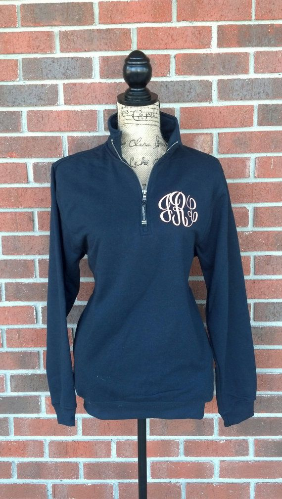 Monogrammed Quarter Zip Sweatshirt with by SweetBelleEmbroidery, $38.00  size small