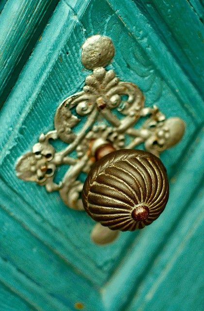 turquoise + brass doorknob