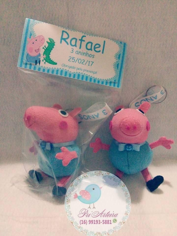 Lembrancinha chaveiro em feltro George e Peppa Pig com embalagem e etiqueta personalizada