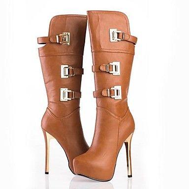 sapatos femininos rodada toe stiletto calcanhar joelho botas altas com zipper mais cores disponíveis - BRL R$ 153,87