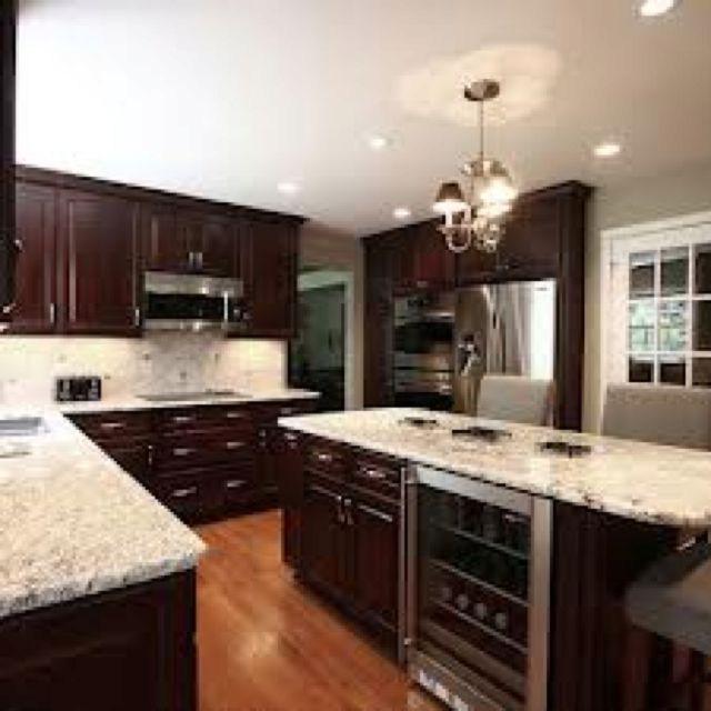 Dark Kitchen Cabinets Light Floors: River White Granite With Espresso Cabinets