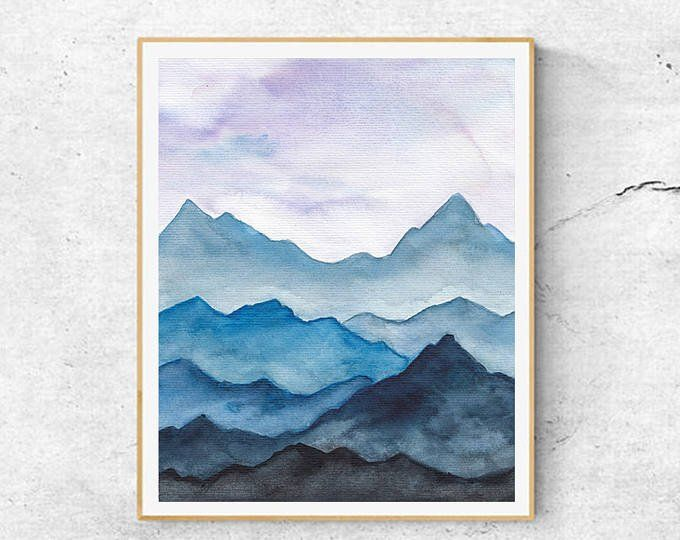 Fine Art Prints Contemporary Art Watercolor Mountains Painting