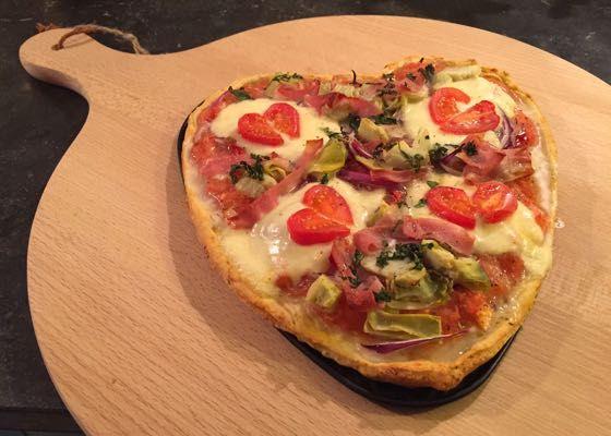 Hartvormige pizza, leuk voor Valentijn!