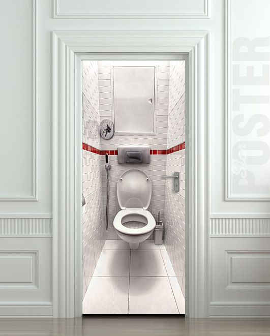 Superior Water Closet Door With Door Sticker
