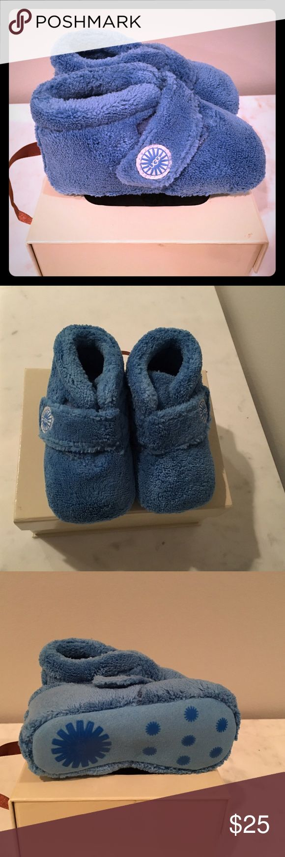 "NWT UGG Bixbee Booties in Blue Adorable booties in ""sky"" blue in size 4/5 medium which fits 12-18 months. Brand new, never worn. Perfect condition. Comes in original box. Purchased at the UGG store. UGG Shoes Baby & Walker"