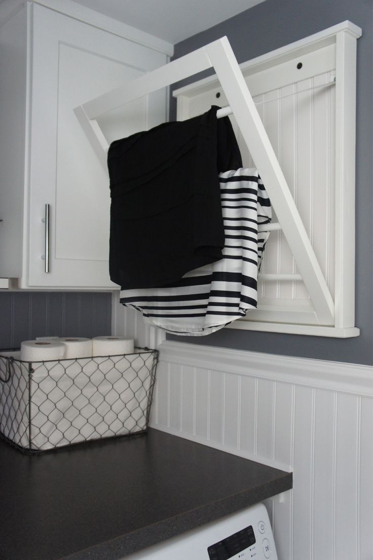 Laundry room ideas drying racks cute laundry rooms utilitarian spaces - Wall Mounted Fold Away Drying Rack Handy Piece When There S Not Much Floor Laundry Room