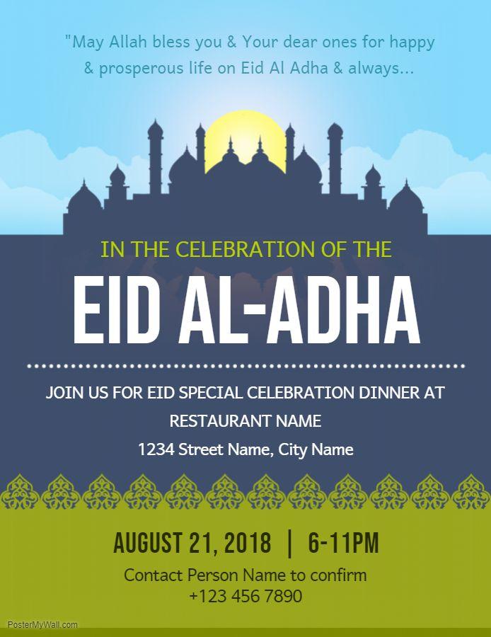 Eid Al Azha Celebration Event Poster Template Event Poster Template Eid Card Template Event Poster
