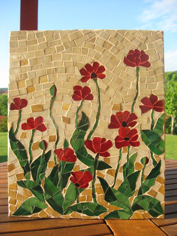Mosaic panel FRAGILE BEAUTY Poppies handmade by andreamosaic, $150.00
