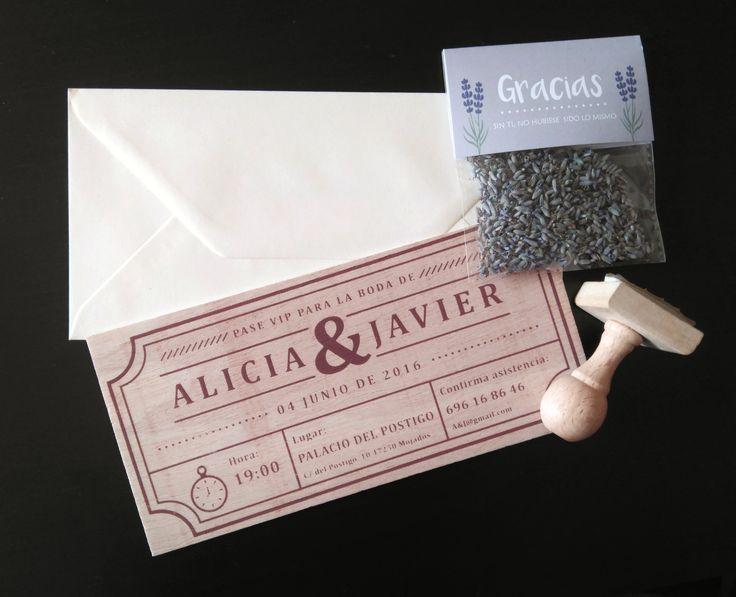 Invitación + sello de madera + bolsita de lavanda