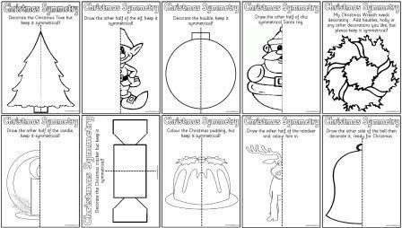 Free printable Christmas Symmetry worksheets. One of many free printable Christmas resources on Instant Display