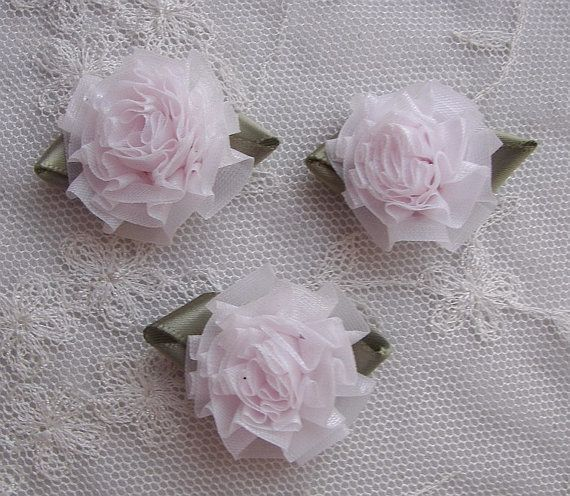 18pc BLUSH PINK Fabric Flower Applique Bow by delightfuldesigner