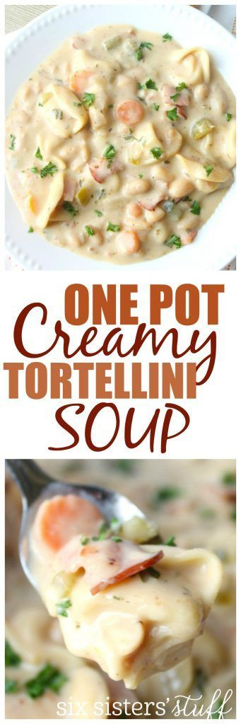 One Pot Creamy Tortellini Soup from Six Sisters Stuff | Freezer Meal | Delicious Soup Recipes | Kid Approved Dinner