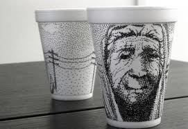 WOW!!! The detail in this work is amazing and to think it was drawn on a Styrofoam cup! I love the depth and story that is evident behind this image.