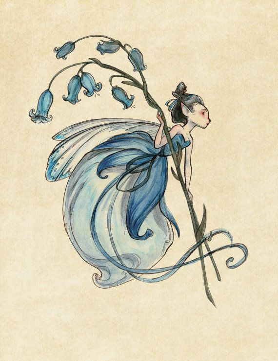 Midsummer Fairies Bluebell SMALL 8.5x11 Art Print by CaseyRobinArt, $20.00