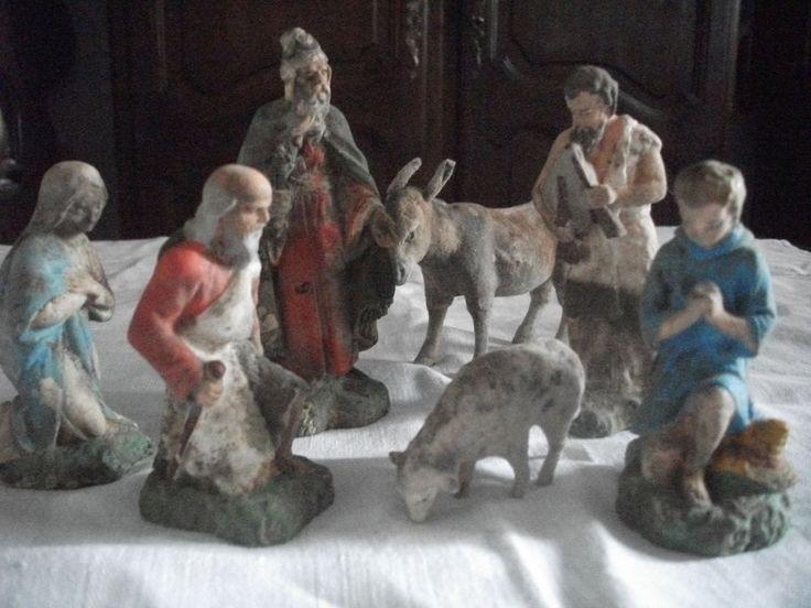 7 très anciens grands  santons de crêche ...