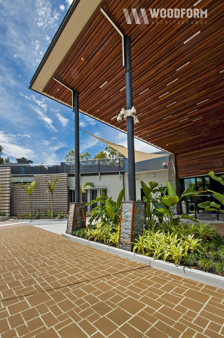Spotted gum timber battens in awning, soffits and ceilings.