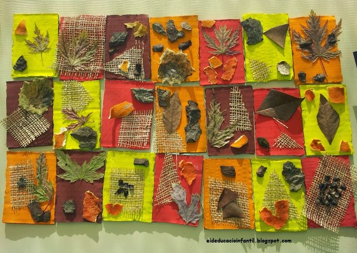 Collage de creación libre con elementos naturales. Para ello necesitaremos una base de cartón de forma rectangular, témperas, elementos naturales (piedras, piñas, hojas, ramas) y pegamento para confeccionar nuestra obra.