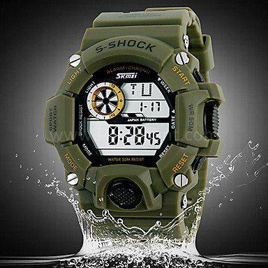 Montre sport LED anti-eau avec deux fuseau horaire chronographe double movementts cadran rond multi-fonction
