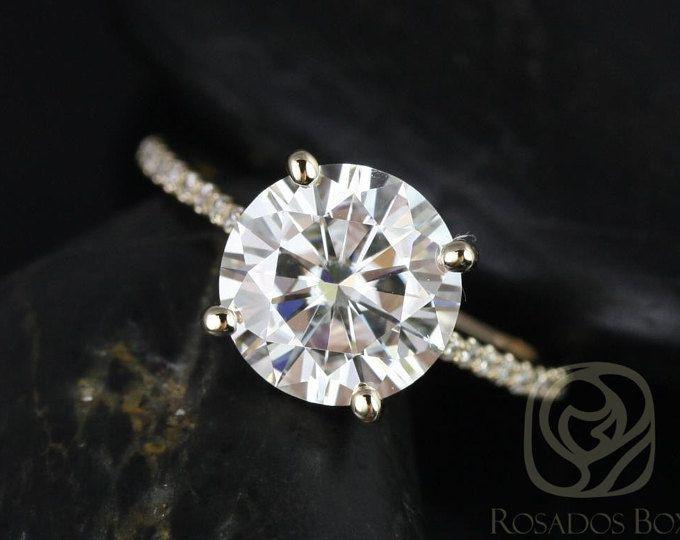Eloise 9mm 14kt ronda F1 - Moissanite oro amarillo y diamantes anillo de compromiso de Catedral (otros metales y piedra opciones disponibles)
