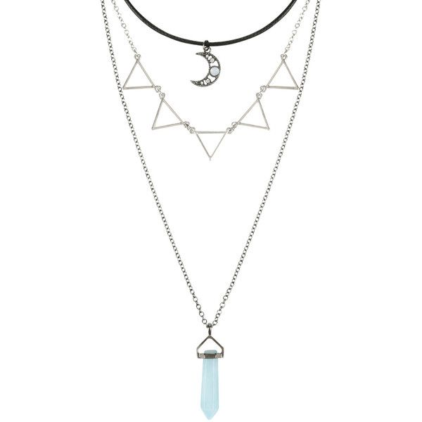 Hot Topic Moon Blue Crystal & Triangle Layered Necklace ($6.80) ❤ liked on Polyvore featuring jewelry, necklaces, accessories, collares, multi, cord necklace, crystal pendant necklace, pendant necklace, chain pendants and chain necklaces