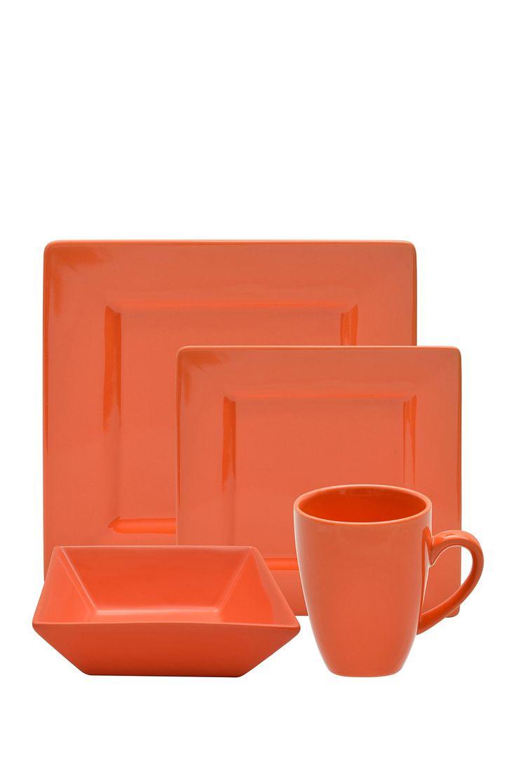10 Strawberry Street Orange 16-Piece Square Dinner Set