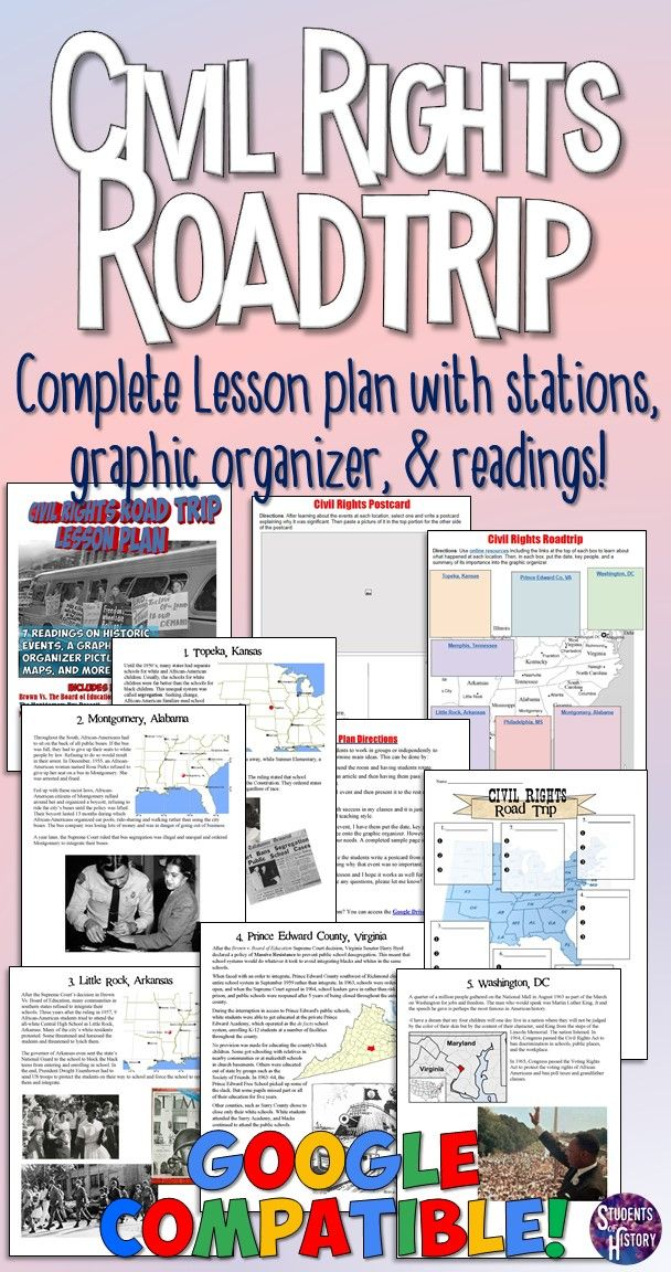 Civil Rights Movement lesson plan - Readings and graphic organizer for a roadtrip around America during the Civil Rights Movement!