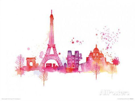 Paris Skyline Posters por Summer Thornton na AllPosters.com.br