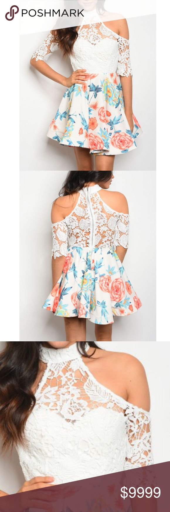 COMING: Ivory Floral Dress with Lace Detailed Top 3/4 sleeve a-line cut dress that features a floral print two toned pleated skirt and lace detailed top, with a mock neckline and cold shoulders. Fabric Content: 65% COTTON 32% POLYESTER 3% SPANDEX golden threads Dresses