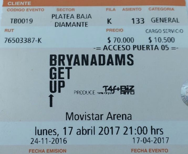 Bryan Adams - Live in Santiago, Chile 17-04-2017