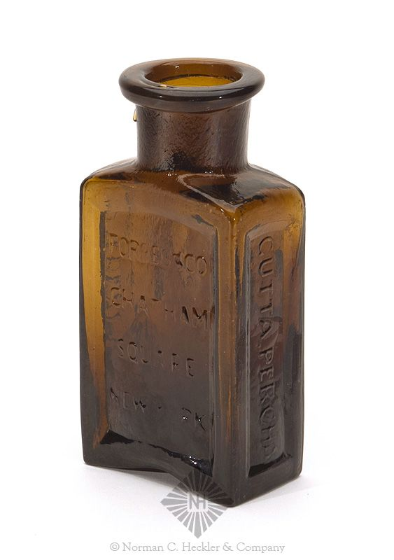 """""""Patent / Forbes & Co / Chatham / Square / New York / Gutta. Percha / Oil' Blacking"""" Bottle, probably a Stoddard glasshouse, Stoddard, New Hampshire, 1846-1860. Rectangular with four indented panels, yellow amber, applied round collared mouth - pontil scar, ht. 5 inches; (non distracting 1/4 inch bruise on lower panel edge, light exterior high point wear). Strong embossing. Extremely rare. One of very few examples sold at public auction. #Bottles #Household #MADonC"""