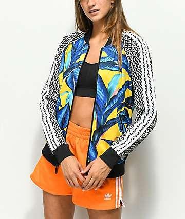 promo code 5c4d1 ada4c adidas x Farm Leaf Blue   Yellow Track Jacket