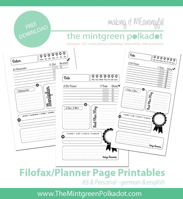 The Mintgreen Polkadot   Download: Printable Filofax Pages 1 Day on 1 Page for A5 Size   http://themintgreenpolkadot.com praktisch und dazu noch hübsch!