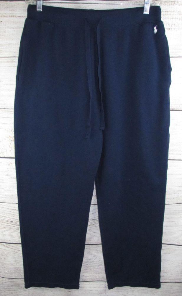 Ralph Lauren Mens Pajama Pants L Large Polo Pony Blue Thermal Knit