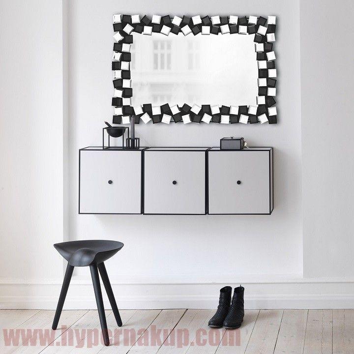 Štýlové zrkadlo - čierna/biela, ELISON TYP 8
