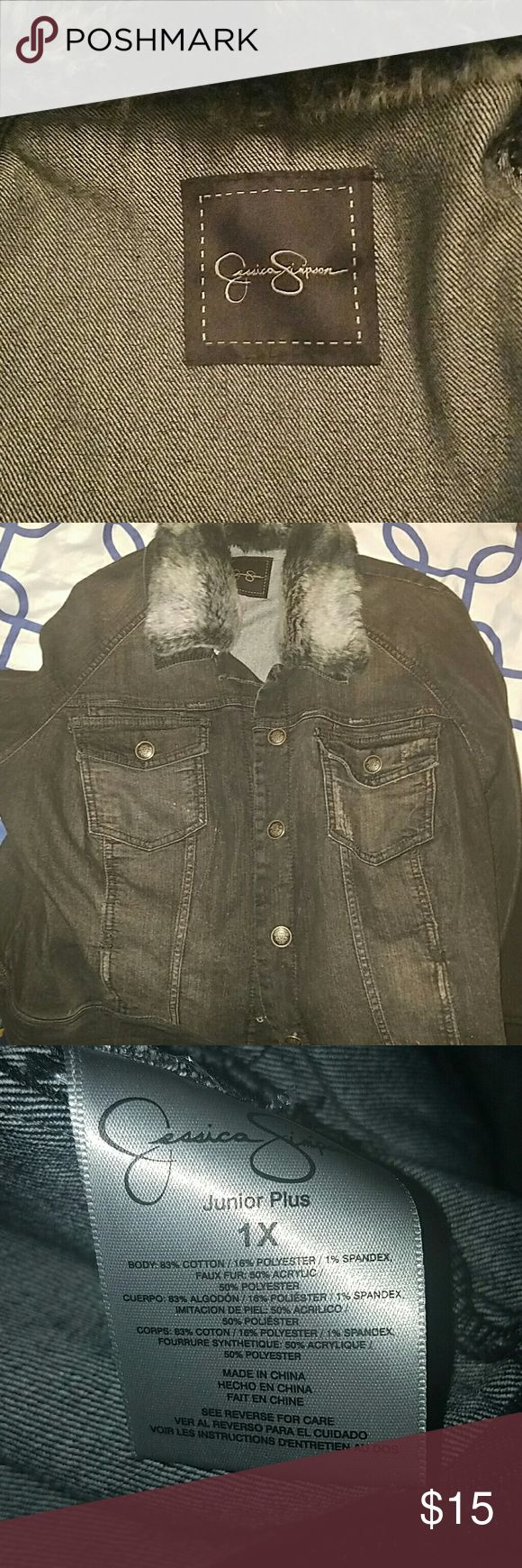 Jessica Simpson jacket Black Jean jacket with fur around collar Jessica Simpson Jackets & Coats Jean Jackets