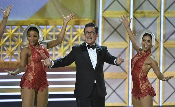 Host Stephen Colbert dances onstage during the 69th Emmy Awards at the Microsoft Theatre on September 17, 2017 in Los Angeles, California.