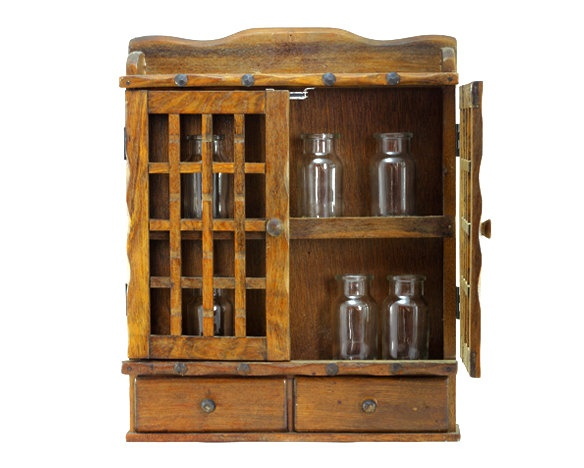 Vintage Wooden Spice Rack or Storage Cabinet: Wall Mount - Display ...
